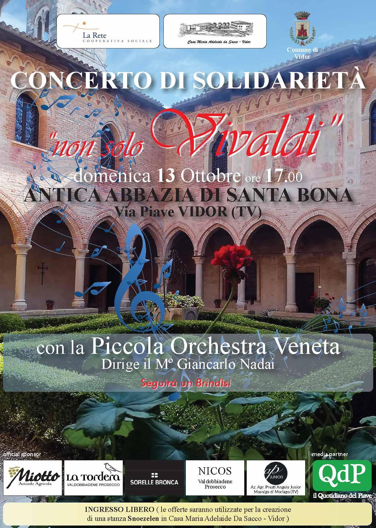 """Concerto di solidarietà """"Non Solo Vivaldi"""" – Vidor, 13 Ottobre"""